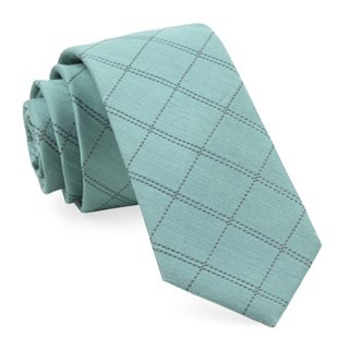 Plaid Stat Mint Tie