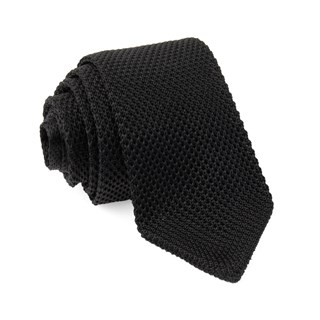 Pointed Tip Knit Black Tie