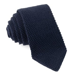 Wool Pointed Tip Knit Navy Tie