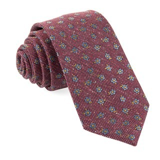 Retro Flowers Burgundy Tie