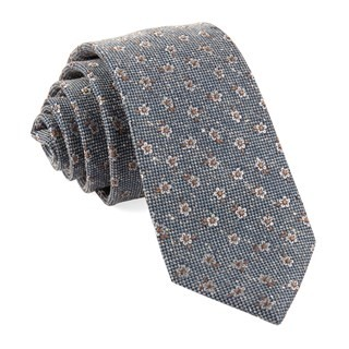 Retro Flowers Light Blue Tie