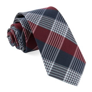 Oxford Plaid Burgundy Tie