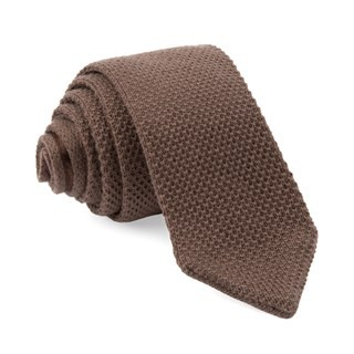 Wool Pointed Tip Knit Brown Tie