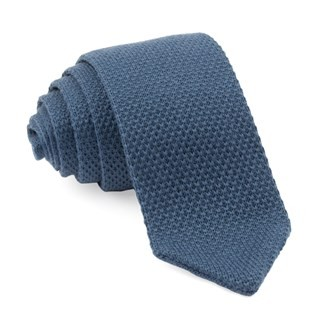 Wool Pointed Tip Knit Slate Blue Tie