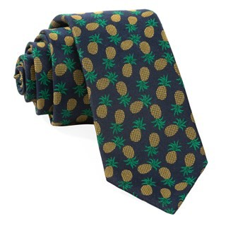 Pineapple Fruit Navy Tie
