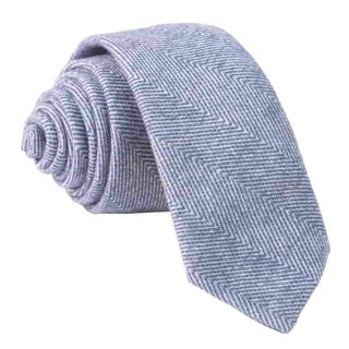 Brushed Cotton Herringbone Classic Blue Tie