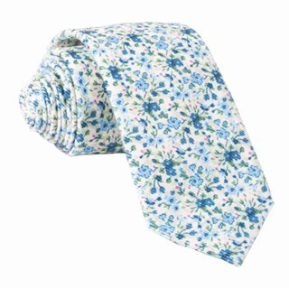 Corduroy Freesia Floral Light Champagne Tie