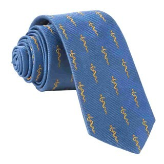 Classic Blue Rod Of Asclepius Doctor's Tie