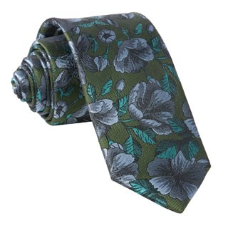 Monarch Floral Olive Green Tie