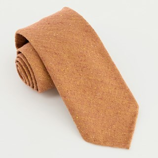 Unlined Textured Solid Mustard Orange Tie