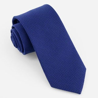 Solid Wool Herringbone Royal Blue Tie