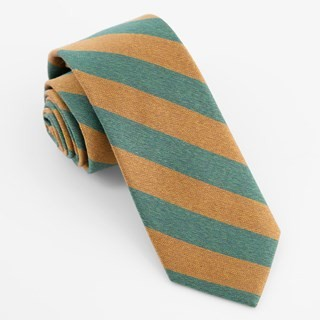 Textured Double Stripe Hunter Green Tie