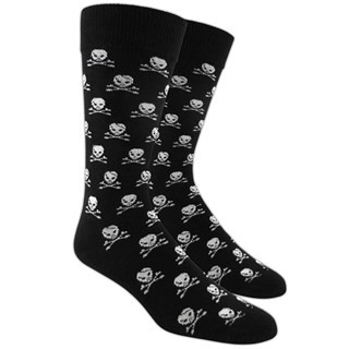 Skull And Crossbones Black Dress Socks
