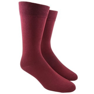 Solid Burgundy Dress Socks