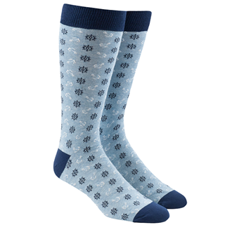 Wheel And Anchor Light Blue Dress Socks
