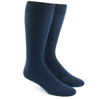 Solid Texture Navy Dress Socks