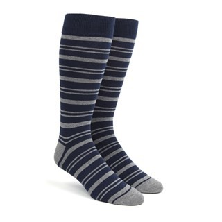 Path Stripe Navy Dress Socks