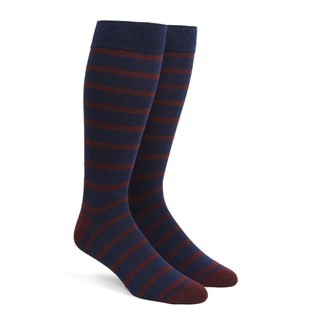 Trad Stripe Burgundy Dress Socks