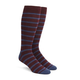 Trad Stripe Wine Dress Socks