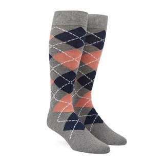 Argyle Peach Dress Socks