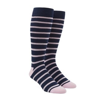 Trad Stripe Light Pink Dress Socks