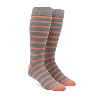 Trad Stripe Peach Dress Socks