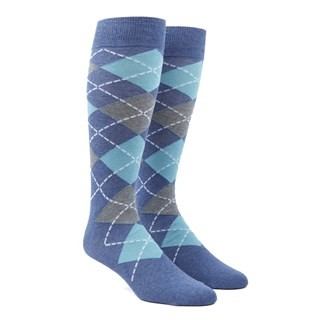 Argyle Aqua Dress Socks