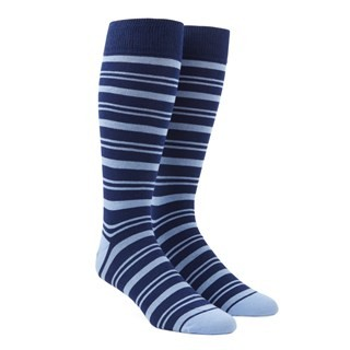 Path Stripe Light Blue Dress Socks