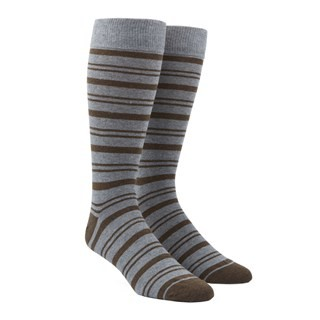 Path Stripe Brown Dress Socks