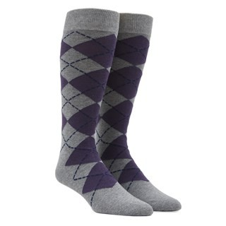 New Argyle Purple Dress Socks