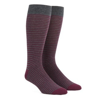 Thin Stripes Wine Dress Socks