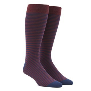 Thin Stripes Burgundy Dress Socks