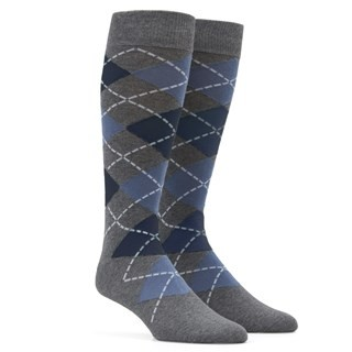 Argyle Slate Blue Dress Socks