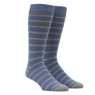 Trad Stripe Slate Blue Dress Socks