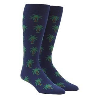 Palm Trees Navy Dress Socks