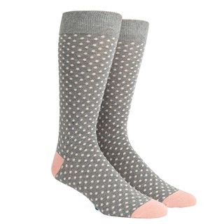 Pindot Soft Grey Dress Socks