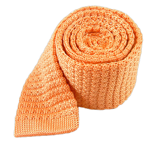 Textured Solid Knit Peach Tie