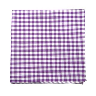 New Gingham Plum Pocket Square