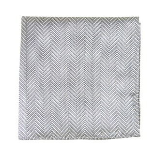 Native Herringbone Silver Pocket Square