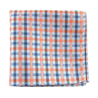 Power Checks Coral Pocket Square