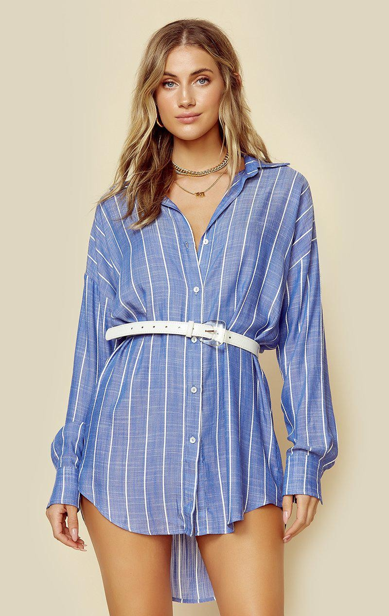 CHAMBRAY BLUE AND WHITE STRIPE