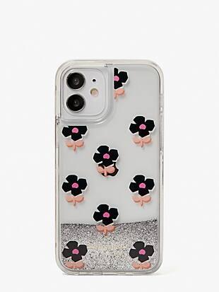 block flower liquid glitter iphone 12 mini case