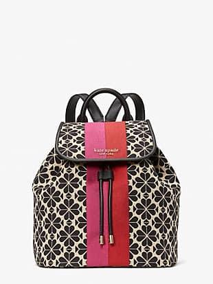 spade flower jacquard stripe sinch medium flap backpack