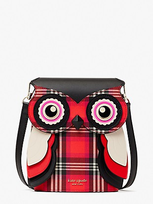 blinx plaid 3d owl crossbody