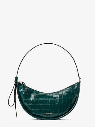 smile croc-embossed leather small shoulder bag
