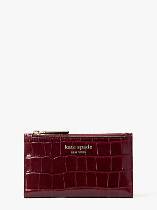 spencer croc-embossed leather small slim bifold wallet