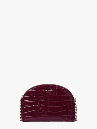 spencer croc-embossed leather double-zip dome crossbody