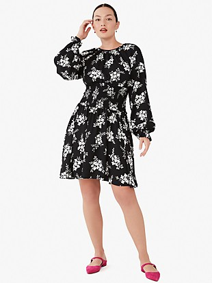 floral clusters fit-and-flare dress