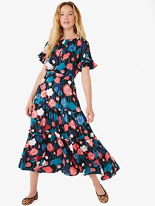 viney floral tiered skirt