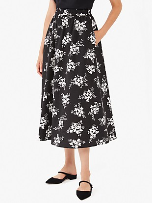 floral clusters poplin skirt